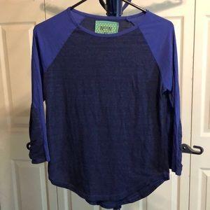 Nation Ltd XS blue raglan t-shirt